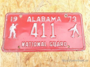 Tablica rejestracyjna Alabama, 411-National-Guard, rok 1973