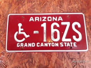 Tablica rejestracyjna Arizona, 16ZS-Disabled, rok 1980-1996