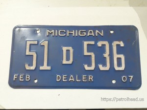Tablica rejestracyjna Michigan, 51D536-Dealer, rok 2007